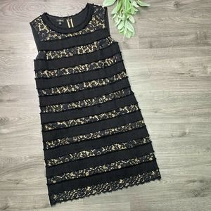 TALBOTS | sz 10P black lace stripe cocktail dress